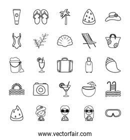 travel suitcase and Summer icon set, line style