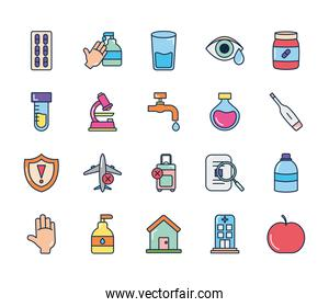 water faucet and coronavirus icon set, line color style
