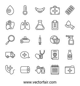 medical mask and covid19 icon set, line style