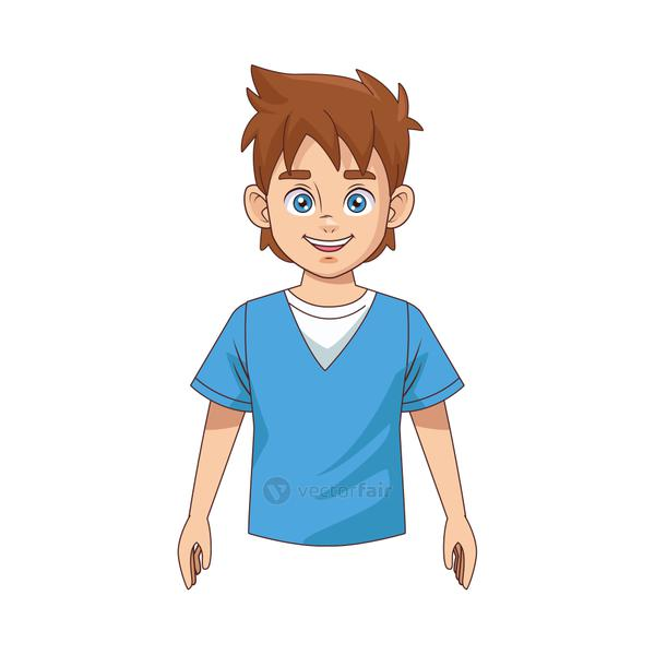 happy young boy avatar character