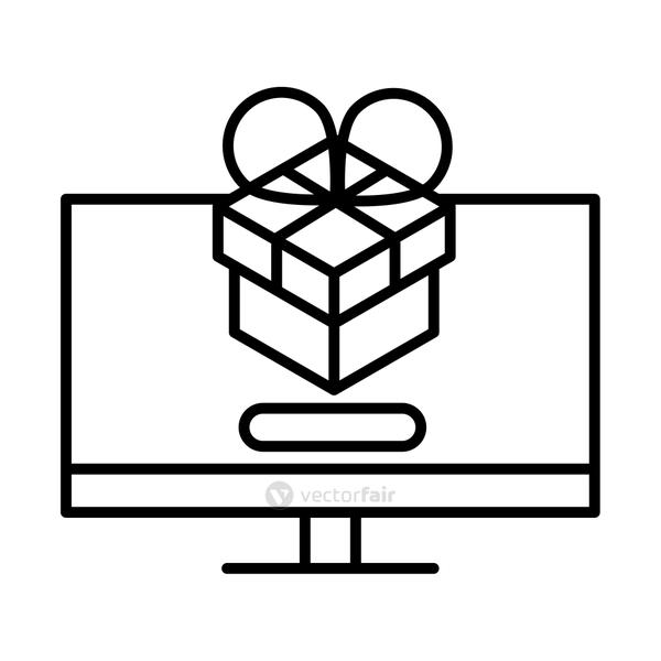 delivery packaging, computer digital gift box distribution, logistic shipment of goods line style icon