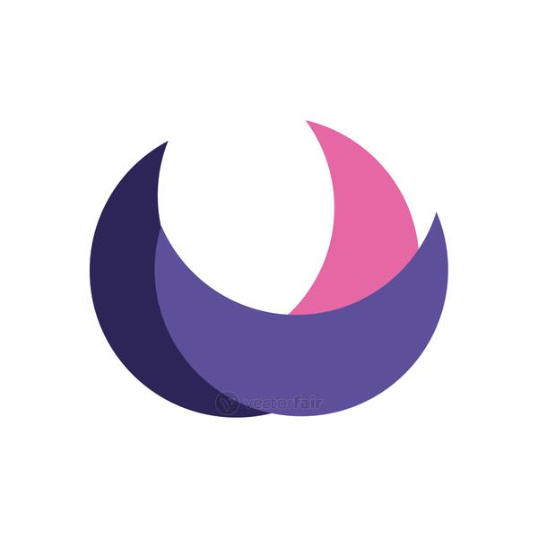 geometric and abstract half circle flat style icon vector design