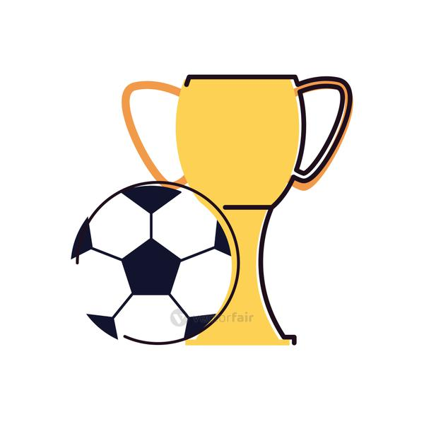 Soccer ball and trophy line and fill style icon vector design