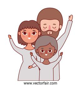 Mother father and son with brown hair vector design