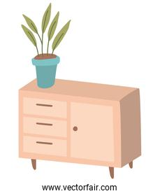 Home wood furniture with plant inside pot vector design