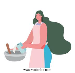 Woman cartoon cooking with bowl and apron vector design