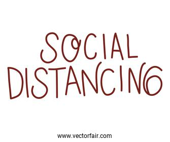 Isolated social distancing text vector design