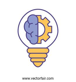 Brain with gear inside light bulb line and fill style icon vector design