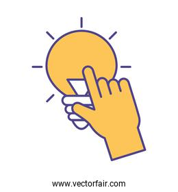 Hand touching light bulb line and fill style icon vector design