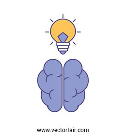 Brain with light bulb line and fill style icon vector design