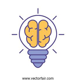 Brain inside light bulb line and fill style icon vector design
