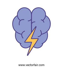 Brain with thunder line and fill style icon vector design