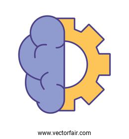 Brain with gear line and fill style icon vector design