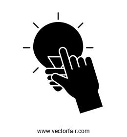 Hand touching light bulb silhouette style icon vector design