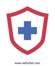 Shield with cross of medical care concept vector design