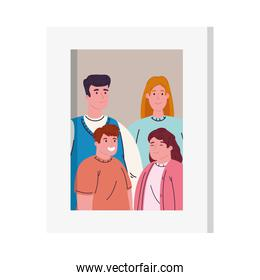 photo family in picture frame on white background
