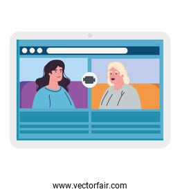 women talk to each other on the tablet device screen, conference video call