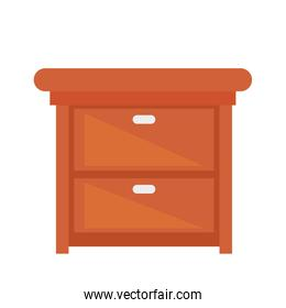wooden drawer icon on white background