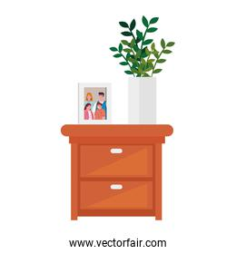 photo family with pot plant in wooden drawer on white background