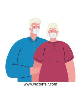 old couple wearing protective medical mask against covid 19