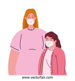 mother with daughter wearing medical protective mask against covid 19
