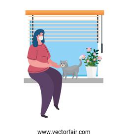 woman wearing medical protective mask against covid 19 sitting in window, with cat mascot, stay at home concept