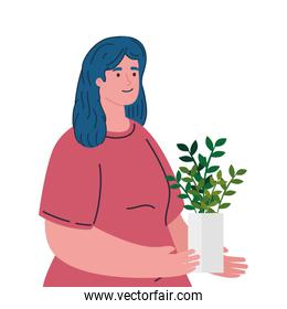 woman planting plant in pot, agriculture gardener, garden job, gardening person