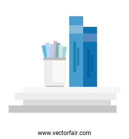 stationery equipment tool, pencils in bottle, with books, isolated icons