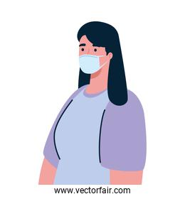 woman wearing medical protective mask against covid 19
