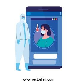smartphone, woman wearing medical mask, app prevention coronavirus covid 19, person in viral protective suit
