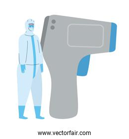 disinfection, person in viral protective suit, with digital non contact infrared thermometer