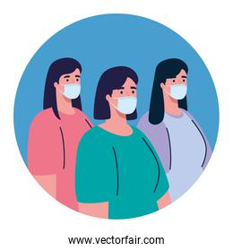 women wearing medical protective mask against covid 19