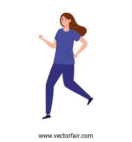 woman jogging, running practicing exercise, sport competition