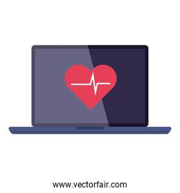 laptop healthcare and medicine, and heart rate cardiology