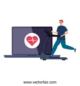 fitness, training and workout app, man practicing sport in laptop, sport online