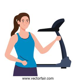 sport, woman with treadmill, sport person with electrical training machine