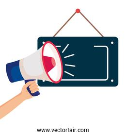 hand with megaphone and hanging sign on white background