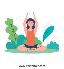 woman meditating, concept for yoga, meditation, relax, healthy lifestyle in landscape