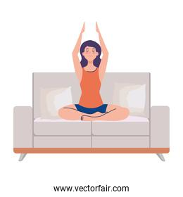 woman meditating sitting in couch, concept for yoga, meditation, relax, healthy lifestyle