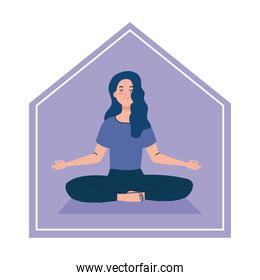 stay at home, woman meditating, concept for yoga, meditation, relax, healthy lifestyle