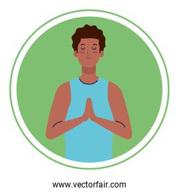 man afro with eyes closed, meditation, healthy lifestyle