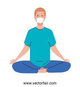 man meditating wearing medical mask against covid 19, concept for yoga, meditation, relax, healthy lifestyle