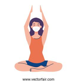 woman meditating wearing medical mask against covid 19, concept for yoga, meditation, relax, healthy lifestyle