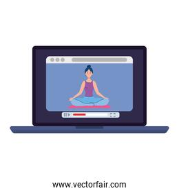 online, yoga concept, woman practices yoga and meditation, watching a broadcast on a laptop computer