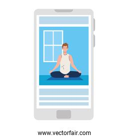 online, yoga concept, man practices yoga and meditation, watching a broadcast on a smartphone