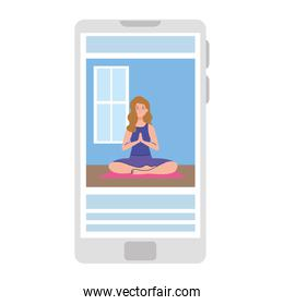 online, yoga concept, woman practices yoga and meditation, watching a broadcast on a smartphone