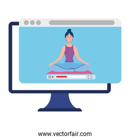 online, yoga concept, woman practices yoga and meditation, watching a broadcast on a computer