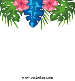 decoration of hibiscus flowers with branches and leaves, tropical nature, spring summer botanical
