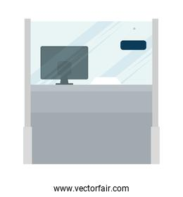 barrier glass protection with computer reception scene