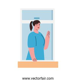 stay home,window, woman look out of home, self isolation, social distancing, keep distance, quarantine due of coronavirus, covid 19